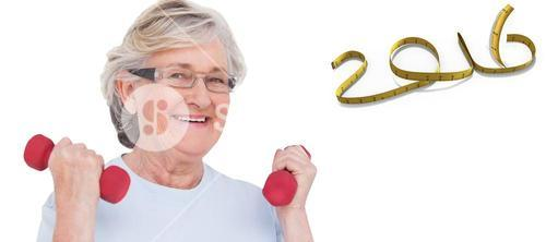 Composite image of senior woman lifting hand weights