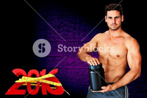 Composite image of portrait of shirtless man holding bottle