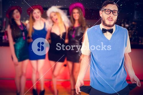 Composite image of geeky hipster showing empty pockets