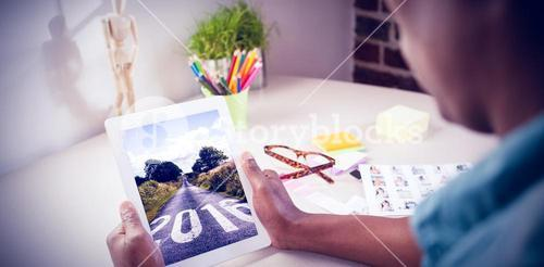 Composite image of photo editor using tablet pc