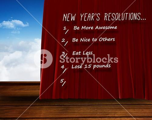 Composite image of catogory of new years resolution list on white background