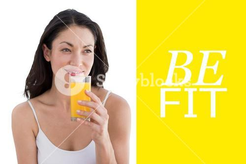 Composite image of woman drinking orange juice