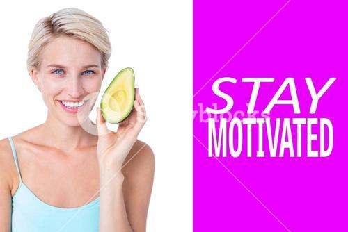 Composite image of pretty blonde holding half of an avocado