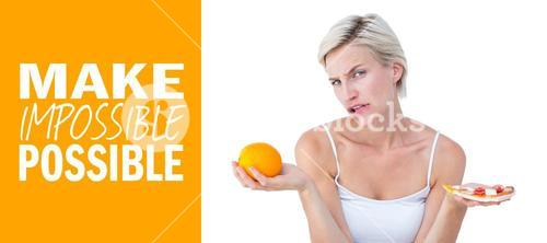 Composite image of pretty woman deciding between pizza and an orange