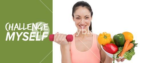 Composite image of fit brunette lifting dumbbell and holding bowl of salad