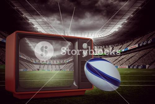 Composite image of rugby ball