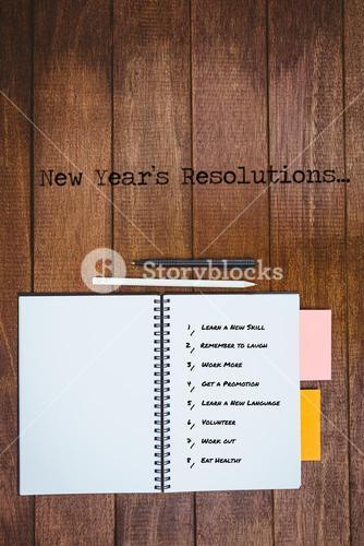 Composite image of new year resolution list against white background