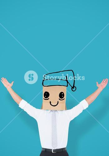 Composite image of anonymous cheering businessman