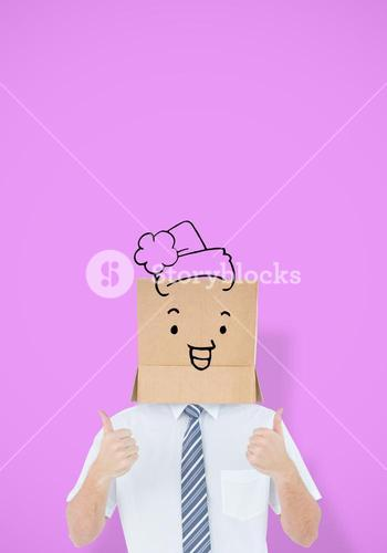 Composite image of anonymous businessman showing thumbs up