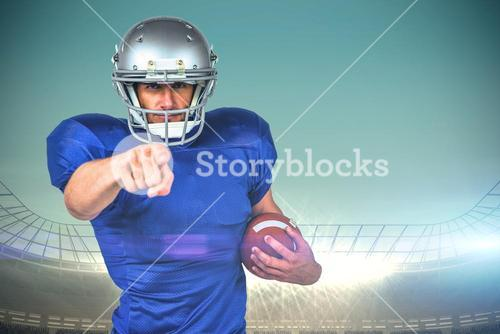Composite image of portrait sports player pointing