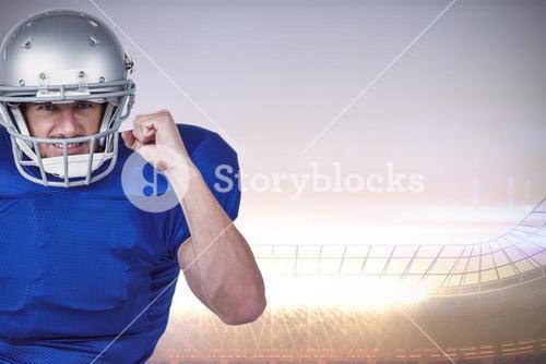 Composite image of american football player standing on one leg while holding ball