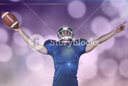 Composite image of sportsman gesturing victory