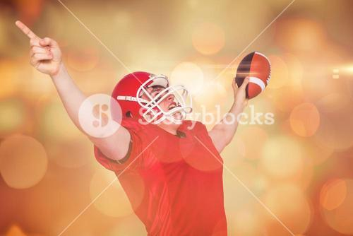 Composite image of a triumph of an american football player