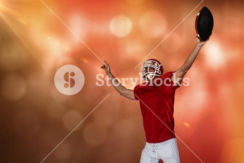 Composite image of rugby player celebrating