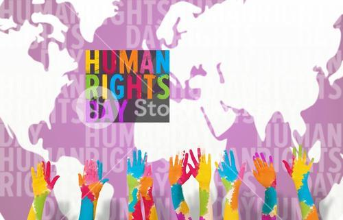 Composite image of group of people raising arms