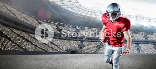 Composite image of sportsman running while playing american football