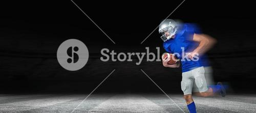 Composite image of american football player holding ball in mid-air