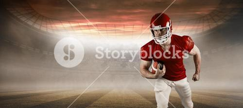 Composite image of american football player running with ball