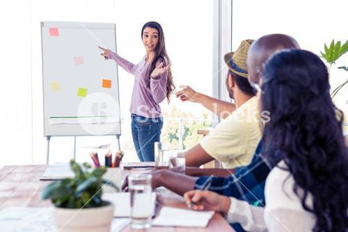 Businesswoman giving presentation to coworkers