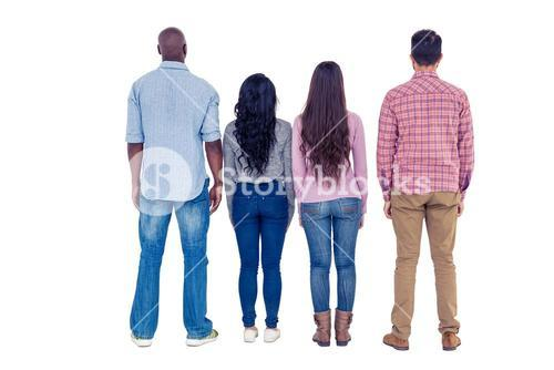 Rear view of multi-ethnic friends standing