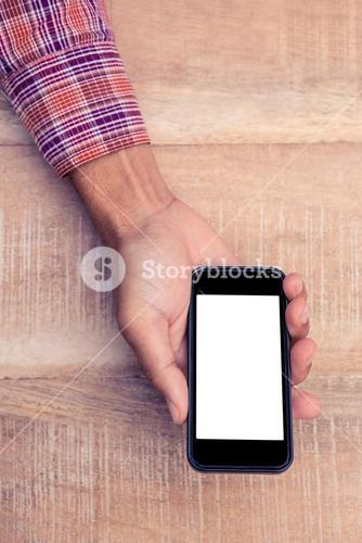 Person holding smart phone