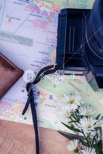 Digital camera and map and flowers