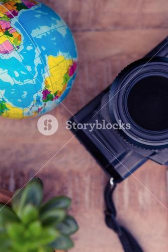 Camera by globe and potted plant on table