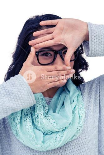 Asian woman making square with hands