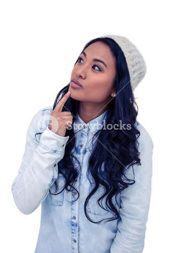 Asian woman with finger on chin