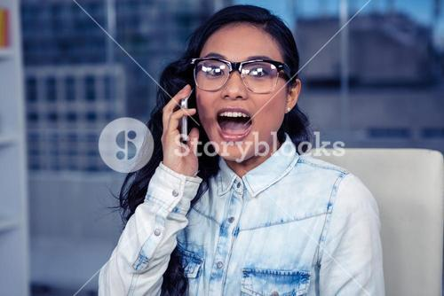 Asian woman shouting on phone call