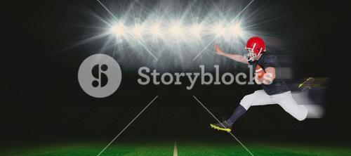 Composite image of american football player jumping with the ball