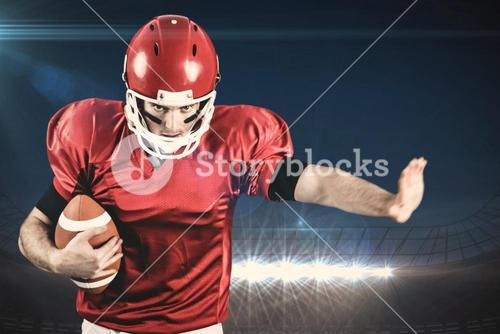 Composite image of american football player wrestling through and protecting football