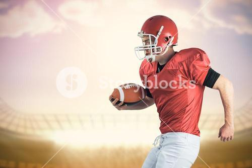 Composite image of american football player playing football