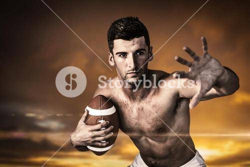 Composite image of shirtless rugby player defending