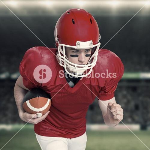Composite image of american football player running with the ball