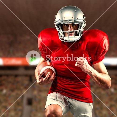 Composite image of american football player in red jersey running