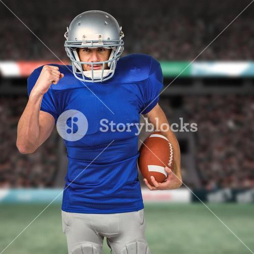 Composite image of portrait of american football player running with ball