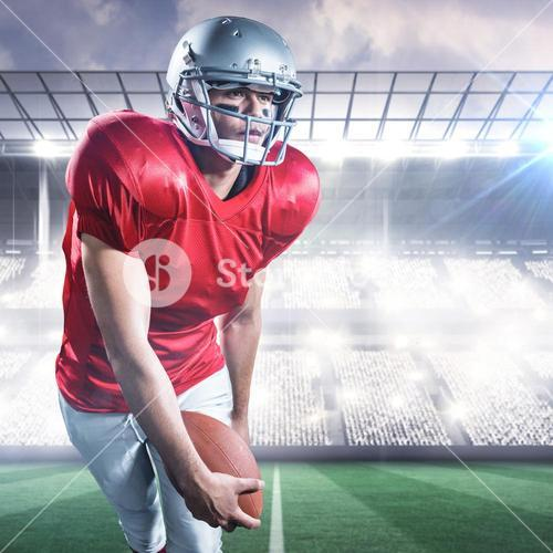 Composite image of sportsman playing american football