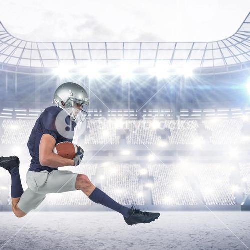 Composite image of full length of american football player running with ball