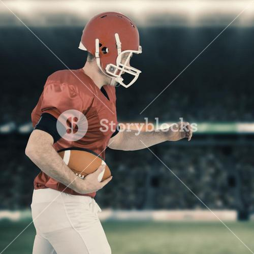 Composite image of american football player running with football
