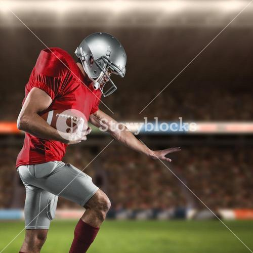 Composite image of american football player defending