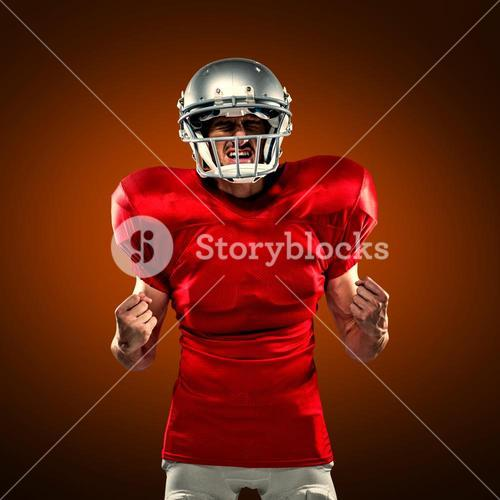 Composite image of irritated american football player in red jersey screaming