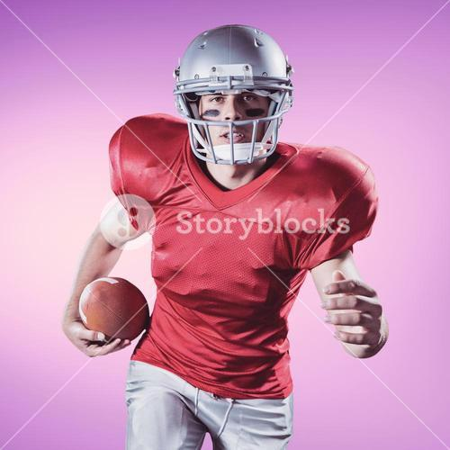 Composite image of portrait of sportsman running while playing american football