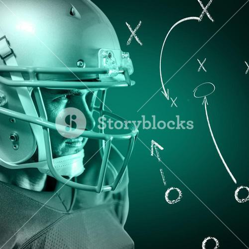 Composite image of serious american football player in red jersey looking away