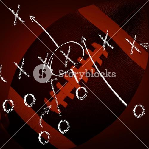 Composite image of american football standing on holder
