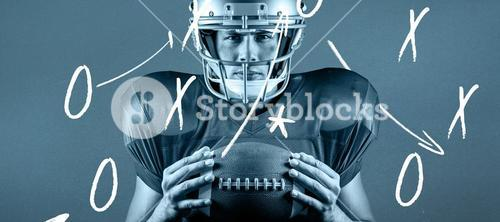 Composite image of close-up portrait of confident american football player holding ball