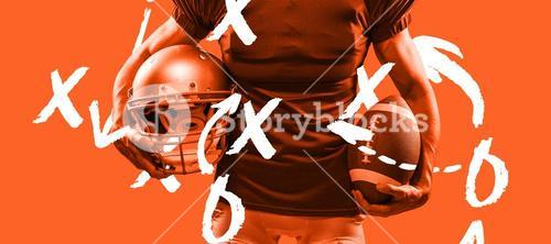 Composite image of midsection of american football player in red jersey holding helmet and ball