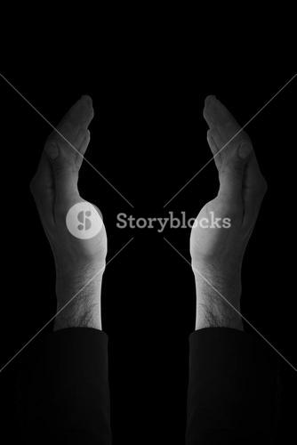 Composite image of close up of businessman with empty hand open
