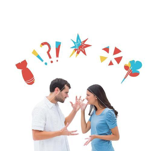 Composite image of angry brunette shouting at boyfriend