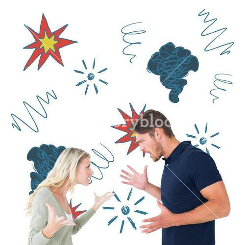 Composite image of angry couple facing off during argument